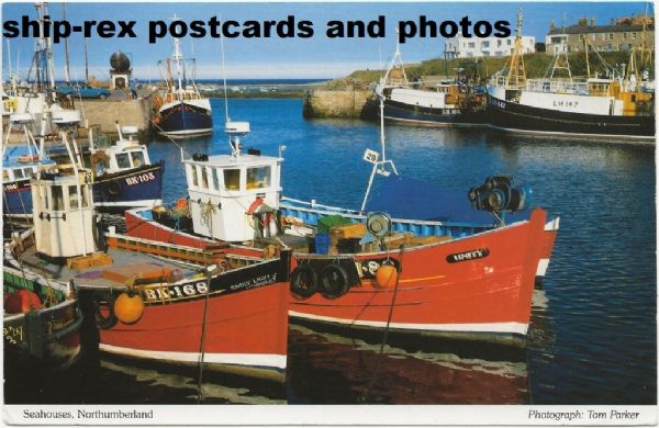 Seahouses harbour, postcard (a)